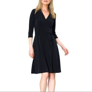 Leota Perfect Faux Wrap Dress in Black Crepe